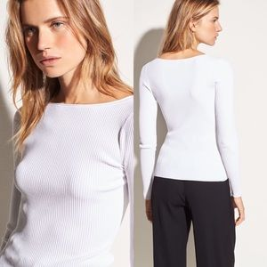 Vince White  Ribbed Long Sleeve Knit Top
